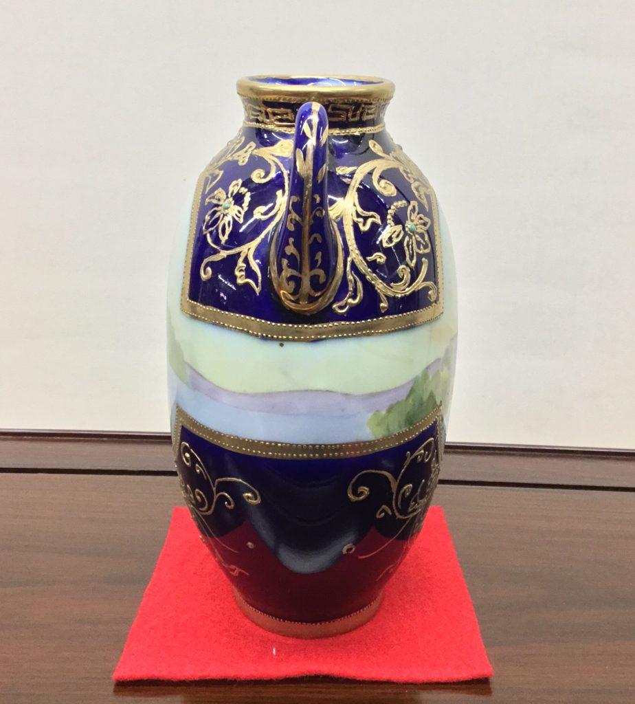 オールドノリタケ 丸木印<br>コバルト ジュール金盛耳付風景花瓶